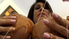 Curvy mom Sheila Marie has a huge dildo and a hard cock banging her ass