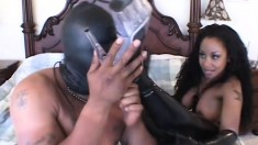 Ebony sex goddess lets her masked boy toy fuck her in the ass