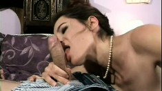 Lustful teacher seduces a young guy and has him banging her hairy cunt on the bed