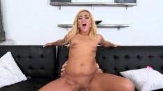 Sexy slim Latina with a fabulous booty passionately fucks a big stick