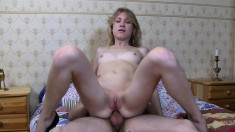 Long-legged blonde tart gives her ass up for some serious drilling