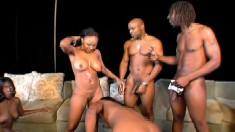 Big black asses get licked and slammed in a hardcore ghetto orgy