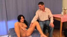 Horny old tutor fucks his gorgeous brunette student like she desires