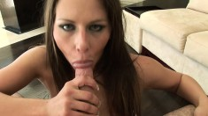 Rachel Roxxx puts her wonderful lips around his joint and sucks in POV