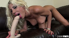 Puma Swede stuffs her gaping pink cunt to the brim with a big toy