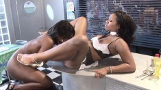Two naughty ebony chicks enjoy going down on each other's twats
