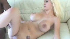 Bodacious blonde has a black stallion deeply drilling her needy holes