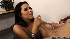 Lacie enjoys a deep pounding from behind and welcomes his cum in her mouth