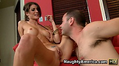 Jenni Lee sucks her man's cock and balls and takes him for a ride