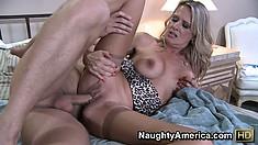 Bridgett Lee straddles her lover's cock as he nears an orgasm