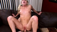 Slutty blonde schoolgirl reaches her climax while engaging in anal sex