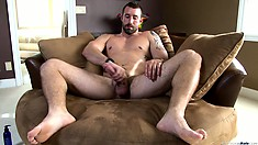 Vinny Castillo is on the couch and giving his rod a good thrashing
