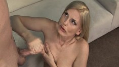 Naughty blonde milf peels off her dress and strokes her stepson's dick