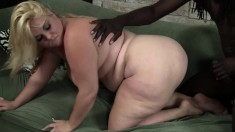 Chubby blonde with a massive booty satisfies her desire for dark meat