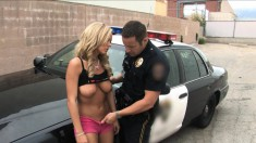 Busty Blonde Sucks A Cop's Hard Cock And Gets Creampied After A Good Outdoor Fuck