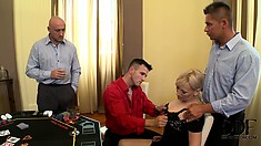Blonde mature lady gets together with three guys to enjoy a pleasant time