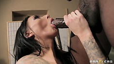 She slams her ass up and down on his big rod and then eats it