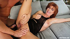 Hot MILF Nina S lifts up her little black dress so he can fuck her