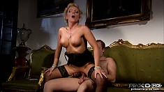 High class whore blows her client and he drills her from behind