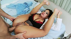Brunette nurse with big tits and ass swallows his cock in her dark ass cave