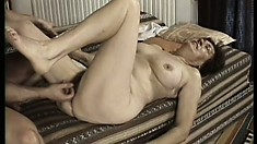 Nasty granny gets drilled and fingered in her sweet, hairy, pie patch