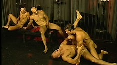Gay orgy climaxes with gaping asses and lots of hot man butter