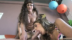 MILF and teen Alexandra Silk and Kara sharing one hard meat pole