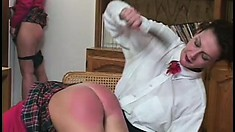 These naughty barely legal teens get caned by their Headmistress
