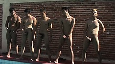 The swim team masturbates and cums in the pool after fucking