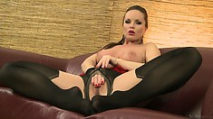 Sexy brunette babe with long luscious legs in sexy high high stockings masturbates
