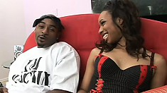 Ebony slut in red stockings gets her pussy pounded hard and creampied