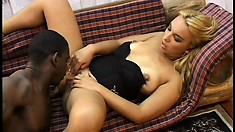 Kinky blonde Latina gets her tight holes stuffed by a black cock
