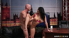 Missy Martinez lays back, sits on it, and then gets fucked standing up