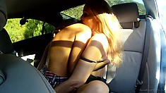 Hot teens strip each other naked and get freaky in the backseat