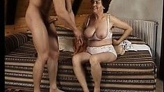 Valda takes a big dick in her hairy mature twat and moans with pleasure