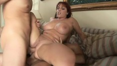 Kylie Ireland gets her holes dicked by a couple of hung studs