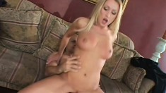 Wife cuckolds her hubby with another dude while he watches her do it