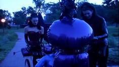 Public training of latex-clad femdom slaves gets really kinky
