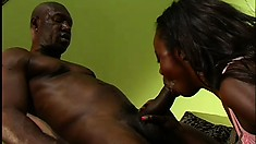 Skinny black slut takes a long dick all the way down her cunt