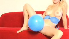 Wonder how this blue balloon feels under Allison's sexy bare ass
