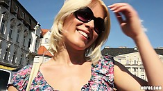 Beautiful blonde with a captivating smile gets picked up at the market