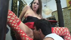 Lovely brunette in red fishnet stockings Haley loves big cock and rough anal sex