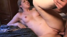 Luscious blonde college babe Holie Stevens has her boyfriend fucking her juicy cunt