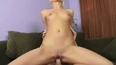Sexy slim blonde Christine jumps on top of a hard cock and rides it with fervor