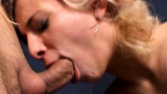 Rebecca works her sexy lips on a long prick and takes it to pleasure