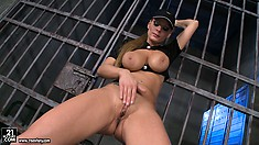 Ignorant whore in cap shows her yummy vagina and pair of cool knockers