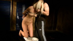Blonde Slave Gets Her Lips Pumped And Blows And Fucks His Pecker