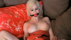 Submissive blonde beauty with big hooters gets dominated and pleased