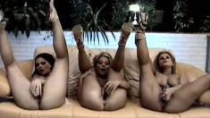 Three beautiful starlets go down on each other's wet velvet purses