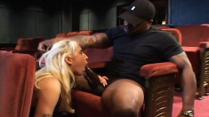 Interracial sex in a theater and she gets all her holes filled up